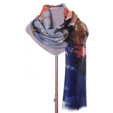Navy Abstract Print Scarf - Insideout