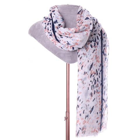 Salmon & Navy Abstract Print Scarf - Insideout
