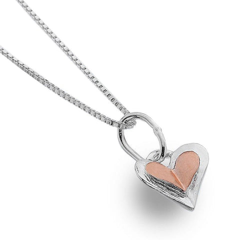 Sterling Silver And Rose Gold Plate Heart Pendant Necklace - insideout-home