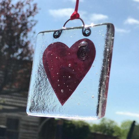 Handmade Heart Fused Glass Hanging - insideout-home