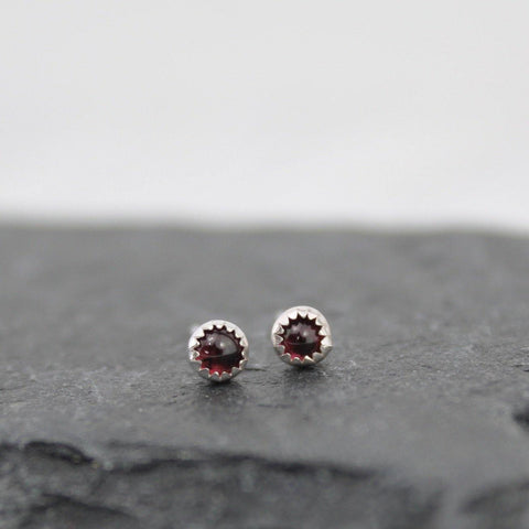 Sterling Silver Garnet Mini Stud Earrings - insideout-home