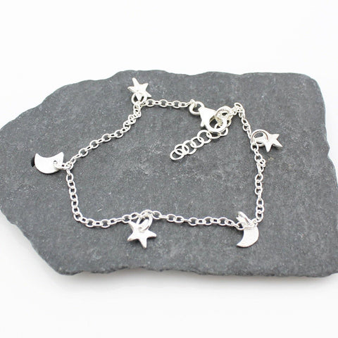Sterling Silver Star & Moon Charm Bracelet - insideout-home