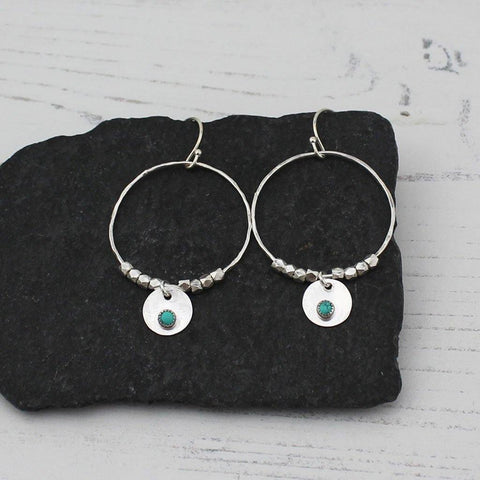 Sterling Silver Boho Drop Hoop Earrings Turquoise - insideout-home