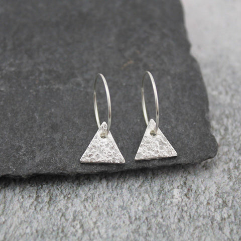 Silver Textured Triangle Charm Hoops - insideout-home