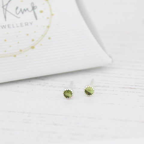 Sterling Silver Peridot Mini Stud Earrings - insideout-home