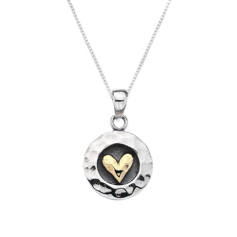 Sterling Silver Round Pendant With Gold Plate Heart Necklace - insideout-home