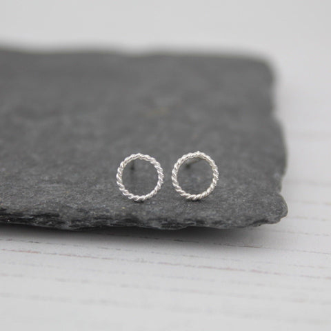 Silver Mini Twisty Circle Studs - insideout-home