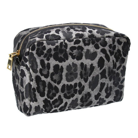 Silver Leopard Jacquard Cosmetic Pouch - insideout-home