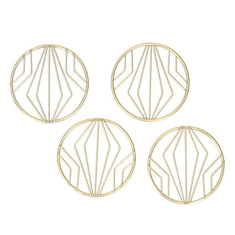 Set Of 4 Gold Geometric Coasters - insideout-home