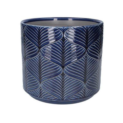 Navy Wavy Planter Pot Small - insideout-home