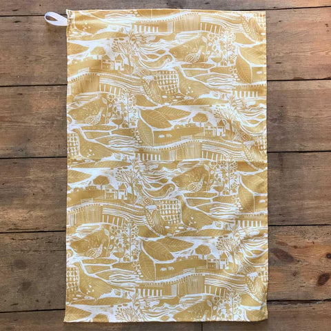 Through The Fields Ochre Tea Towel - insideout-home