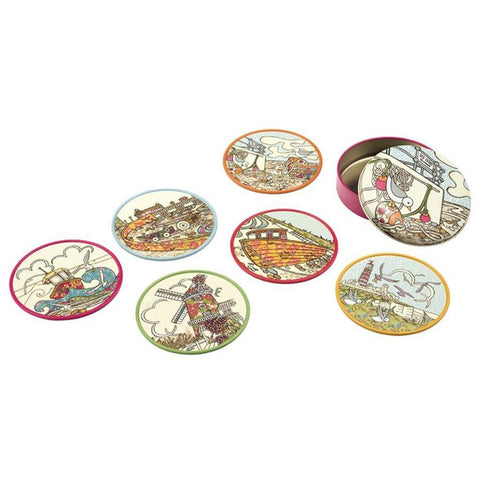 Coast Coasters by Amelia Bowman - Set Of 6 In A Tin - Insideout