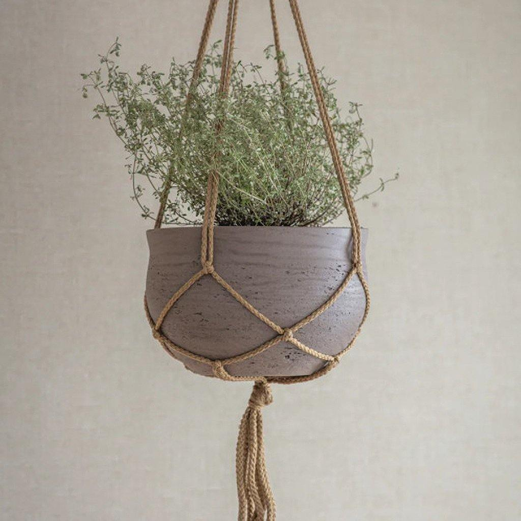 Stratton Hanging Pot Stone Large by  Insideout