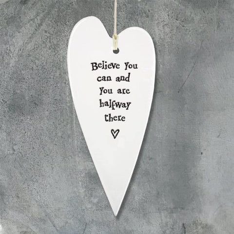 Porcelain Long Heart Believe You Can - insideout-home