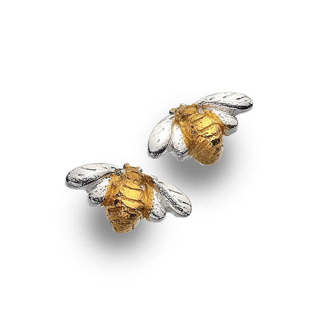 Sterling Silver Bee With Gold Plating Stud Earrings - insideout-home