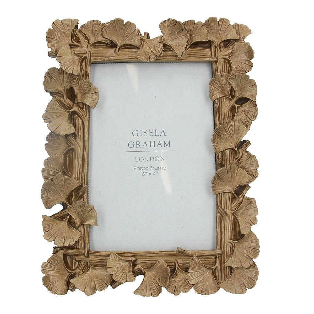 Gold Ginkgo Resin Picture Frame 4x6