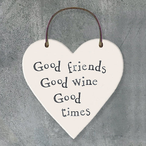 Good Friends Good Wine Heart Tag - insideout-home