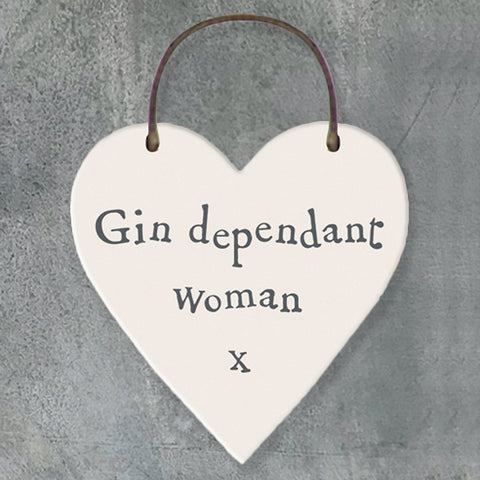 Gin Dependant Woman Heart Tag - insideout-home