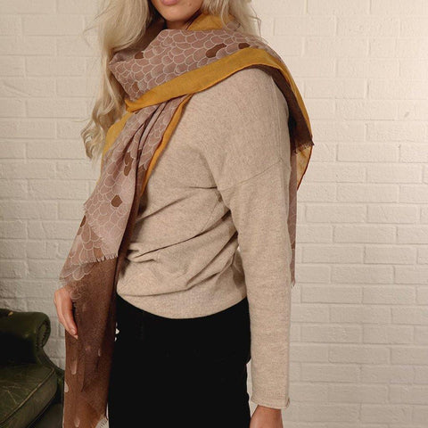 Mustard & Brown Snake Scale Print Scarf - insideout-home