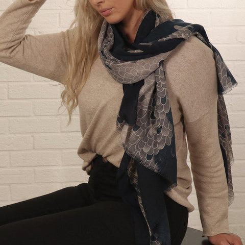 Navy Blue Snake Scales Scarf - insideout-home