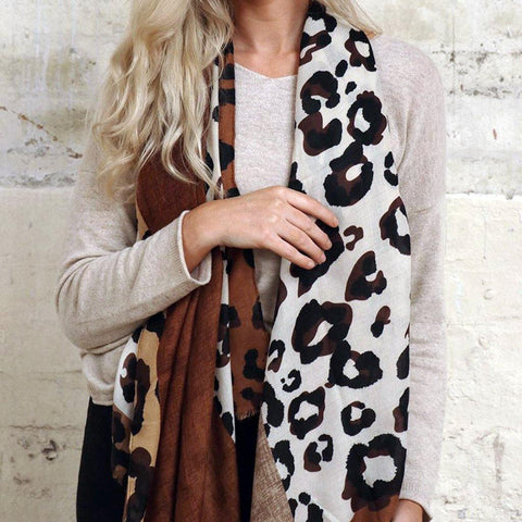 Leopard Block Quadrant Scarf Brown - insideout-home