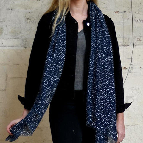 Navy With White Animal Print Scarf - insideout-home