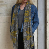 Two Tone Leaf Print Scarf - insideout-home