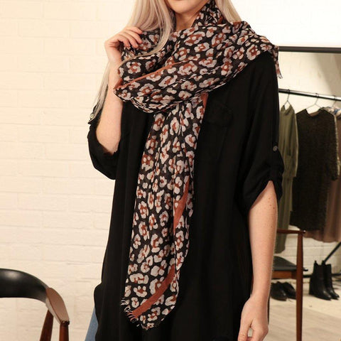 Black Leopard Print Scarf - insideout-home