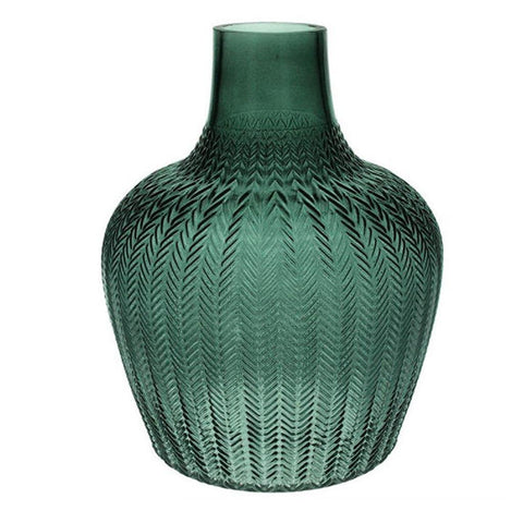 Green Ribbed Geo Glass Vase Extra Large - insideout-home