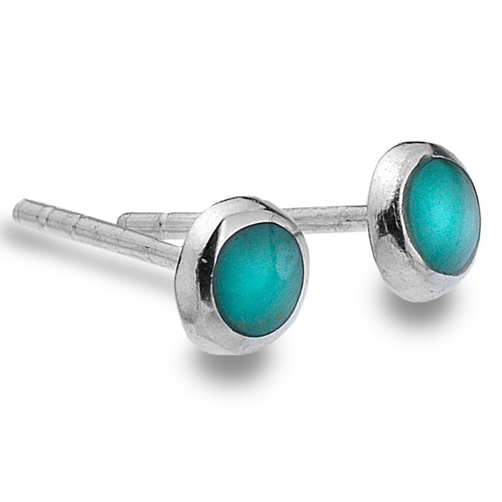 Round Silver Turquoise Studs by  Insideout