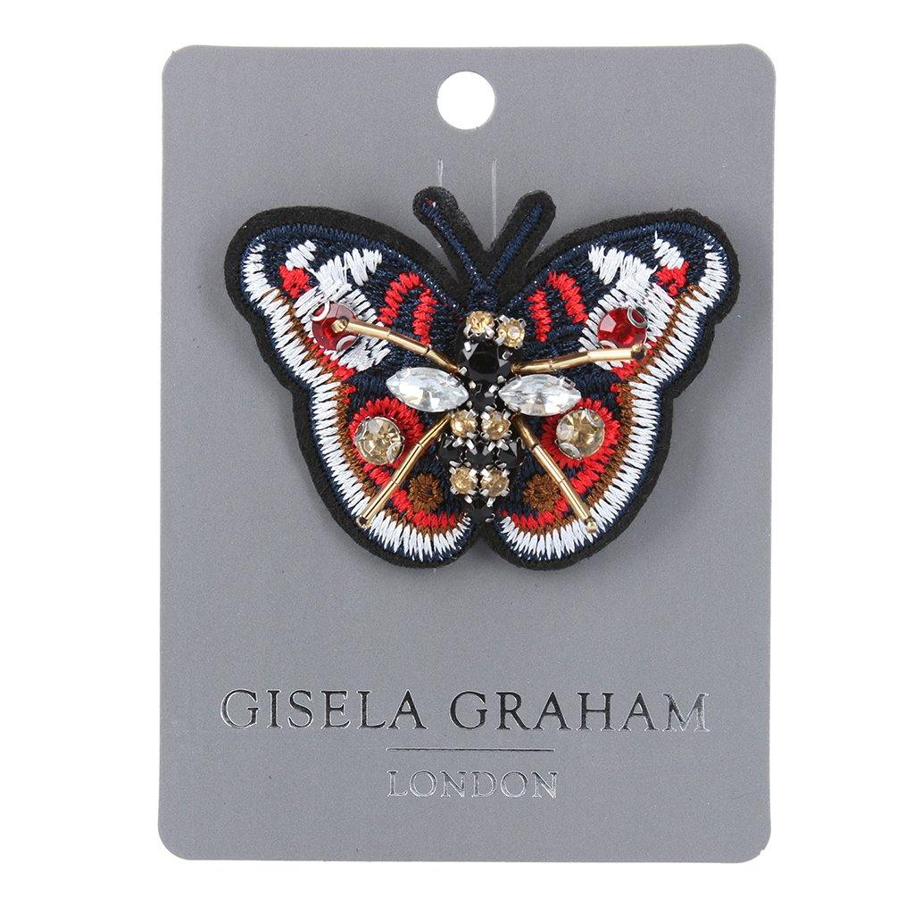 Jewelled And Beaded Red Butterfly Brooch, Building Toys by Insideout