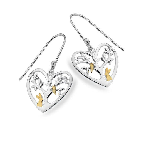Rabbit Tree Sterling Silver Heart Hook Earrings - insideout-home