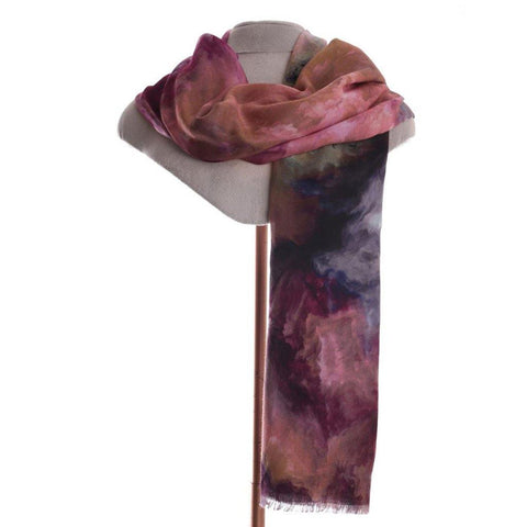 Screen Print Scarf With Cosmic Purple Print - insideout-home