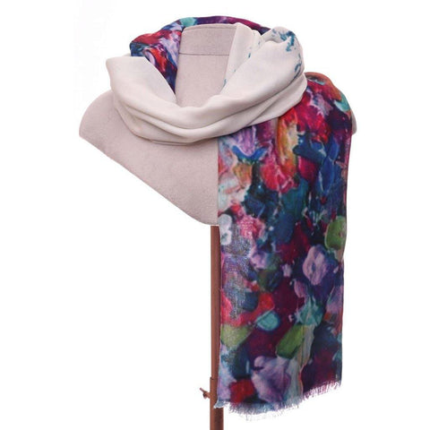 Screen Print Scarf With Abstract Purple Print - insideout-home
