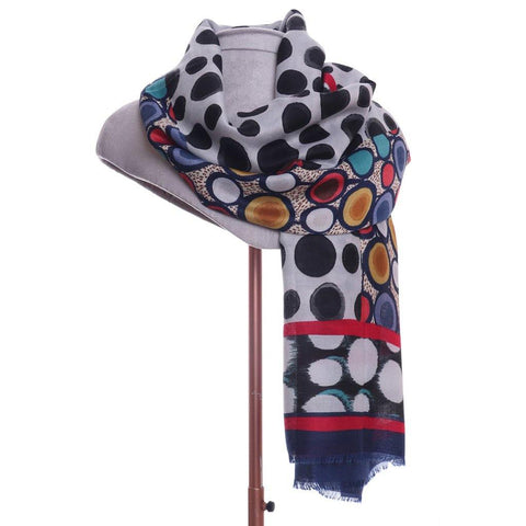 Circle Print Scarf Blue - insideout-home