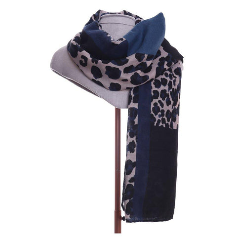 Leopard Print Scarf Blue - insideout-home
