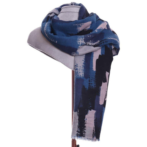Brush Stroke Scarf Blue - insideout-home