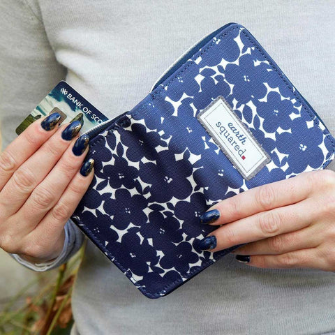 Navy Flower Oil Cloth Wallet - insideout-home