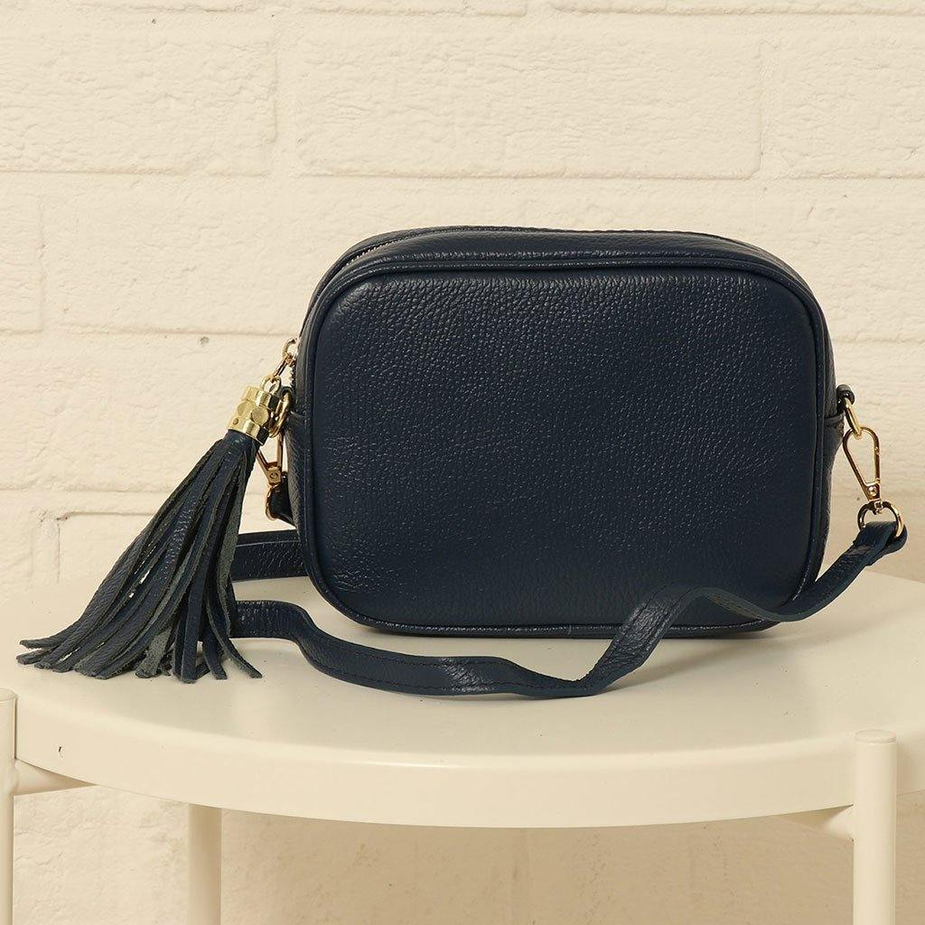 Navy Blue Italian Leather Camera Bag, Cameras & Optics by Insideout