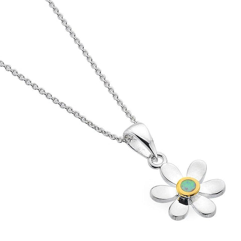 Sterling Silver Daisy Pendant Necklace With White Opal - insideout-home