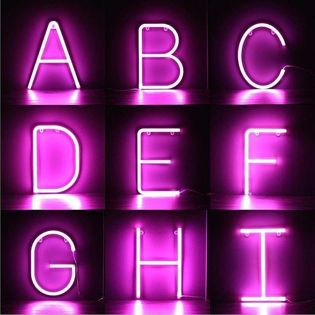 Pink Neon Letters A-Z by  Insideout