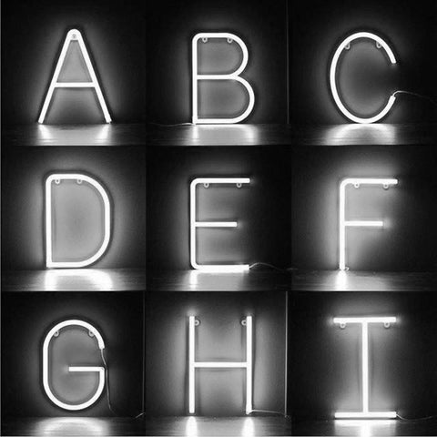 White Neon Letters A-Z - insideout-home