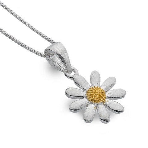 Sterling Silver Daisy Pendant With Gold Plate Domed Centre - insideout-home