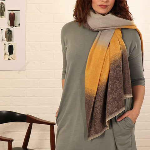 Ombre Scarf With Contrast Stripe - insideout-home