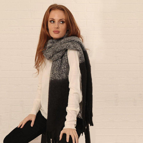 Black Two Tone Textured Blanket Scarf - insideout-home