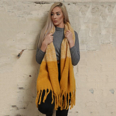 Mustard Two Tone Textured Blanket Scarf - insideout-home