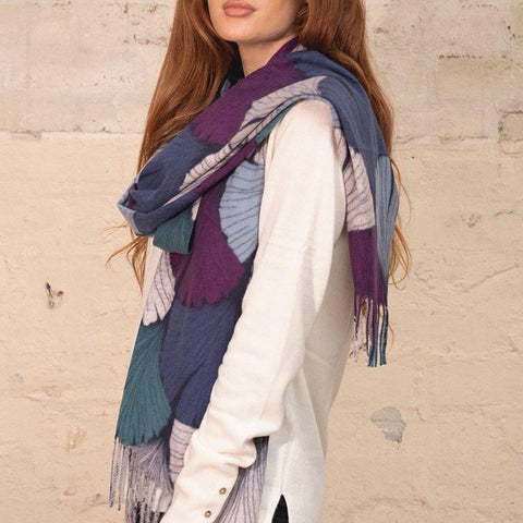 Gingko Leaves Print Scarf - insideout-home