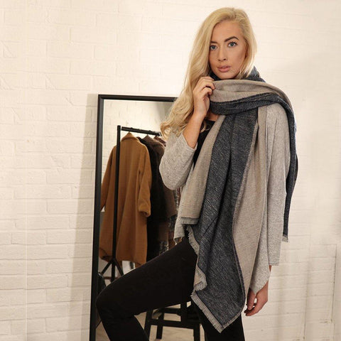 Navy Cream Blanket Scarf - insideout-home