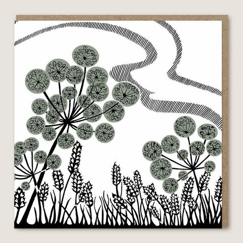 Green Cowslip Lino Cut Card