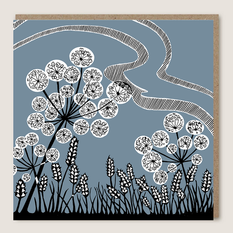 Blue Cowslip Lino Cut Card - insideout-home
